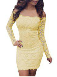 Lace Bodycon Off Shoulder Dress - YELLOW XL