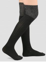 Ribbed Knitted Plain Stockings -
