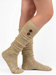 Button Knitted Stockings - LIGHT KHAKI