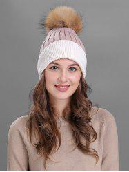Vintage Fuzzy Ball Embellished Slouchy Beanie - PINK