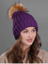 Outdoor Flanging Fur Pom Ball Knitted Beanie -