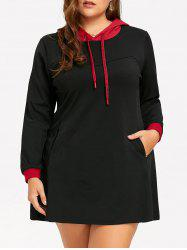 Contrast Plus Size Hoodie Dress with Pocket -