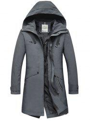 Zip Up Multi Pockets Hooded Trench Coat - DEEP GRAY 3XL