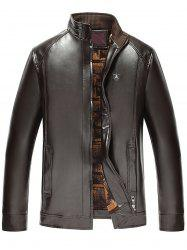 Stand col Zip Up Faux cuir veste - Espresso 3XL