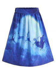 Ugly Christmas Elk Santa Claus A Line Skirt -