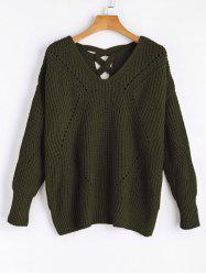 V Neck Criss Cross Sheer Sweater - ARMY GREEN ONE SIZE