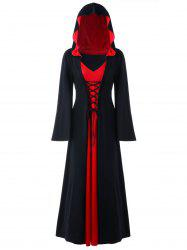 Halloween Plus Size Lace Up Hooded Maxi Dress - Red With Black - 5xl