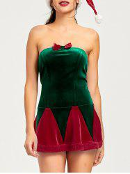 Christmas Lace Up Tube Dress and Hat - RED L