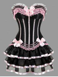 Two Piece Plus Size Ruffles Corset Dress - PINK 6XL