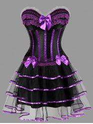 Two Piece Plus Size Ruffles Corset Dress - Purple - 6xl