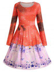 Plus Size Christmas Smock Dress with Long Sleeves -