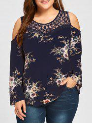 Plus Size Floral Lace Panel Cold Shoulde Blouse - CADETBLUE 5XL