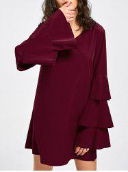 Layered Flare Sleeve V Neck Dress -