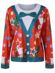 Plus Size Christmas Santa Claus Long Sleeve Top -