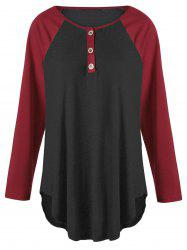 Plus Size Two Tone Raglan Sleeve Top with Buttons -