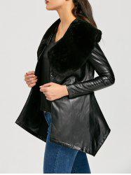 Faux Fur Collar Asymmetric PU Leather Coat -