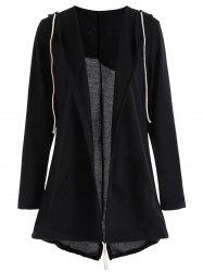 Drawstring Hooded Slit Open Front Coat -