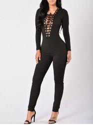 Plunge Lace-up Bodycon Jumpsuit -