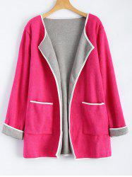 Wool Blend Open Front Coat with Pockets -
