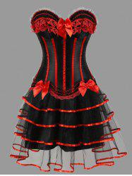 Plus Size Tier Flounce Two Piece Corset Dress -