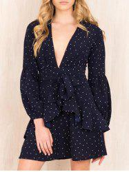 Plunging Neck Bowknot Design Layered Polka Dot Dress -