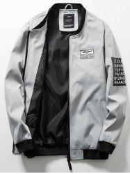 Zip Up Flag Patch Casual Bomber Jacket -