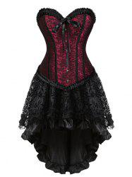 Lace-up Flounce Two Piece Corset Dress -