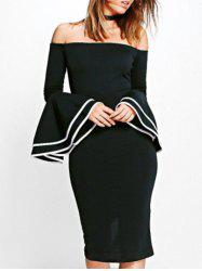 Flare Sleeve Off The Shoulder Pencil Dress -