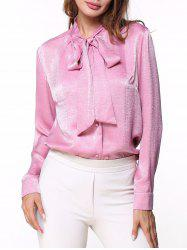 Long Sleeve Bow Collar Shirt -