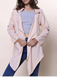 Drop Shoulder Draped Front Coat -