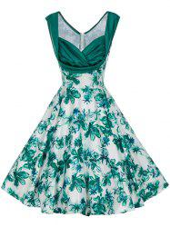 Vintage Floral Print Pin Up Skater Dress -