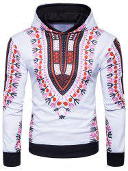 Ethnic Style Florals Print Pullover Hoodie -