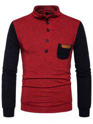 Buttons Color Block Pocket Sweater -