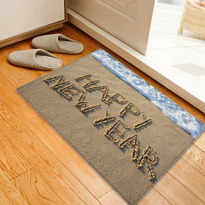 Beach Happy New Year Pattern Anti-skid Water Absorption Area RugHOME<br><br>Size: W20 INCH * L31.5 INCH; Color: COLORMIX; Products Type: Bath rugs; Materials: Flannel; Pattern: Letter; Style: Beach Style; Shape: Rectangle; Package Contents: 1 x Rug;