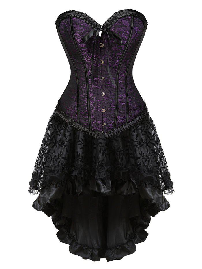 Lace-up Flounce Two Piece Corset DressWOMEN<br><br>Size: XL; Color: PURPLE; Material: Polyester,Spandex; Pattern Type: Others; Embellishment: Criss-Cross,Ruffles; Weight: 0.4000kg; Package Contents: 1 x Corset  1 x Skirt  1 x T Back;