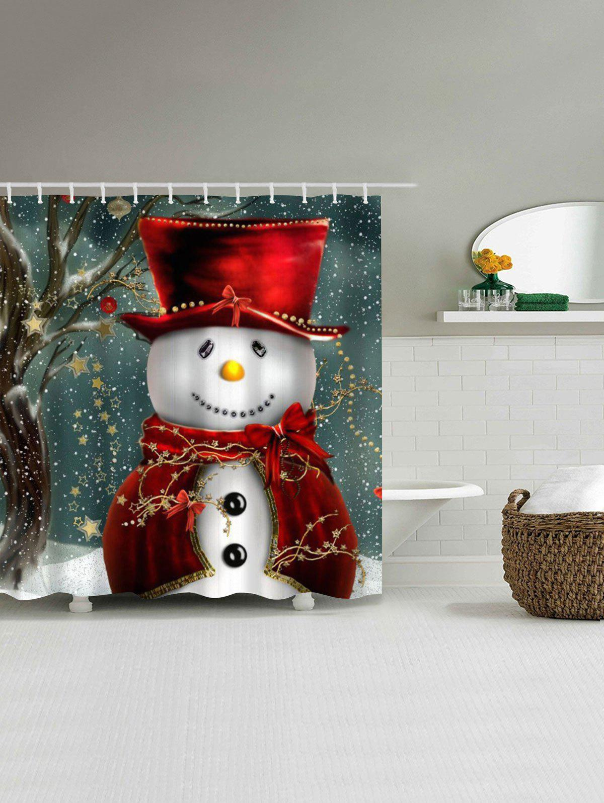 Discount Christmas Snowman Mouldproof Waterproof Bathroom Shower Curtain
