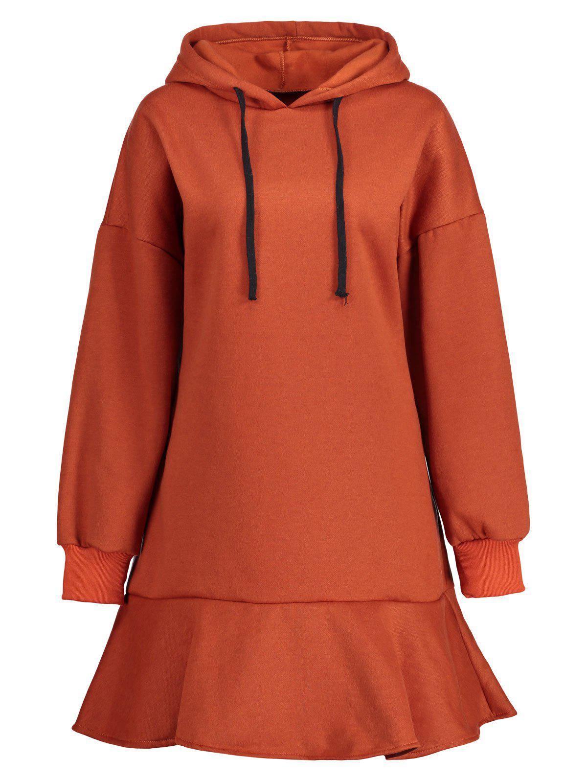 Online Plus Size  Drop Waist Fleece Lined Hoodie Dress