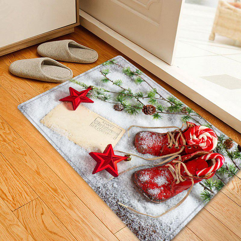 Christmas Snowfield Shoes Pattern Anti-skid Water Absorption Area RugHOME<br><br>Size: W20 INCH * L31.5 INCH; Color: RED; Products Type: Bath rugs; Materials: Flannel; Pattern: Plant,Star; Style: Festival; Shape: Rectangle; Package Contents: 1 x Rug;