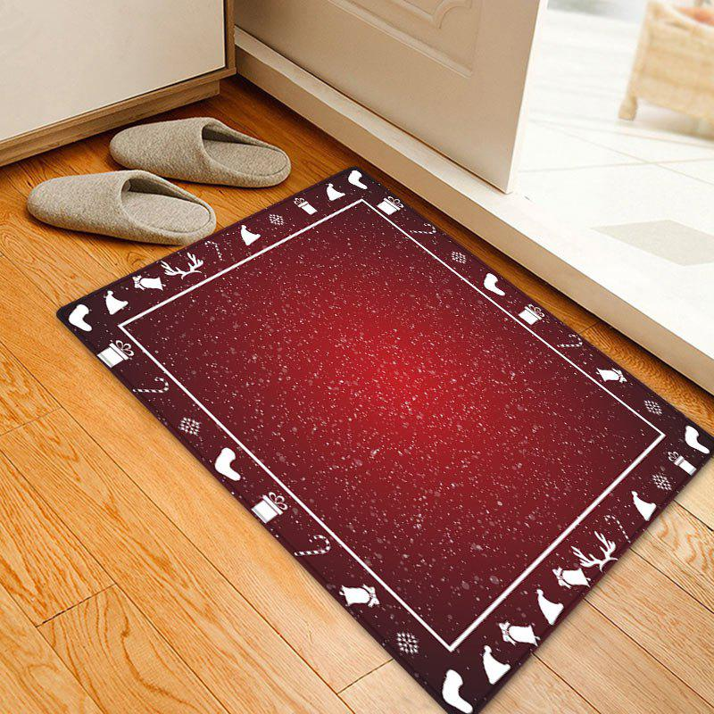 Christmas Theme Pattern Anti-skid Water Absorption Area RugHOME<br><br>Size: W16 INCH * L24 INCH; Color: RED; Products Type: Bath rugs; Materials: Flannel; Style: Festival; Shape: Rectangle; Package Contents: 1 x Rug;