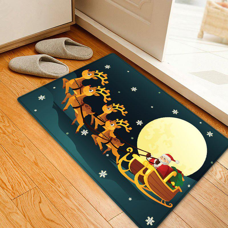 Christmas Night Deer Sleigh Pattern Anti-skid Water Absorption Area RugHOME<br><br>Size: W20 INCH * L31.5 INCH; Color: COLORMIX; Products Type: Bath rugs; Materials: Flannel; Pattern: Animal,Moon; Style: Festival; Shape: Rectangle; Package Contents: 1 x Rug;