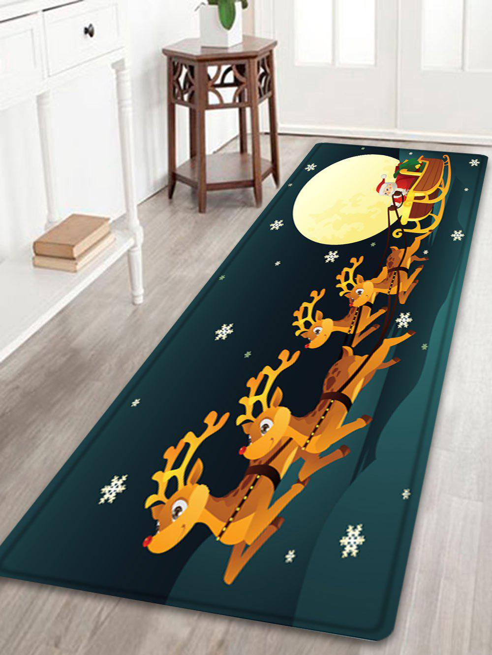Christmas Night Deer Sleigh Pattern Anti-skid Water Absorption Area RugHOME<br><br>Size: W24 INCH * L71 INCH; Color: COLORMIX; Products Type: Bath rugs; Materials: Flannel; Pattern: Animal,Moon; Style: Festival; Shape: Rectangle; Package Contents: 1 x Rug;