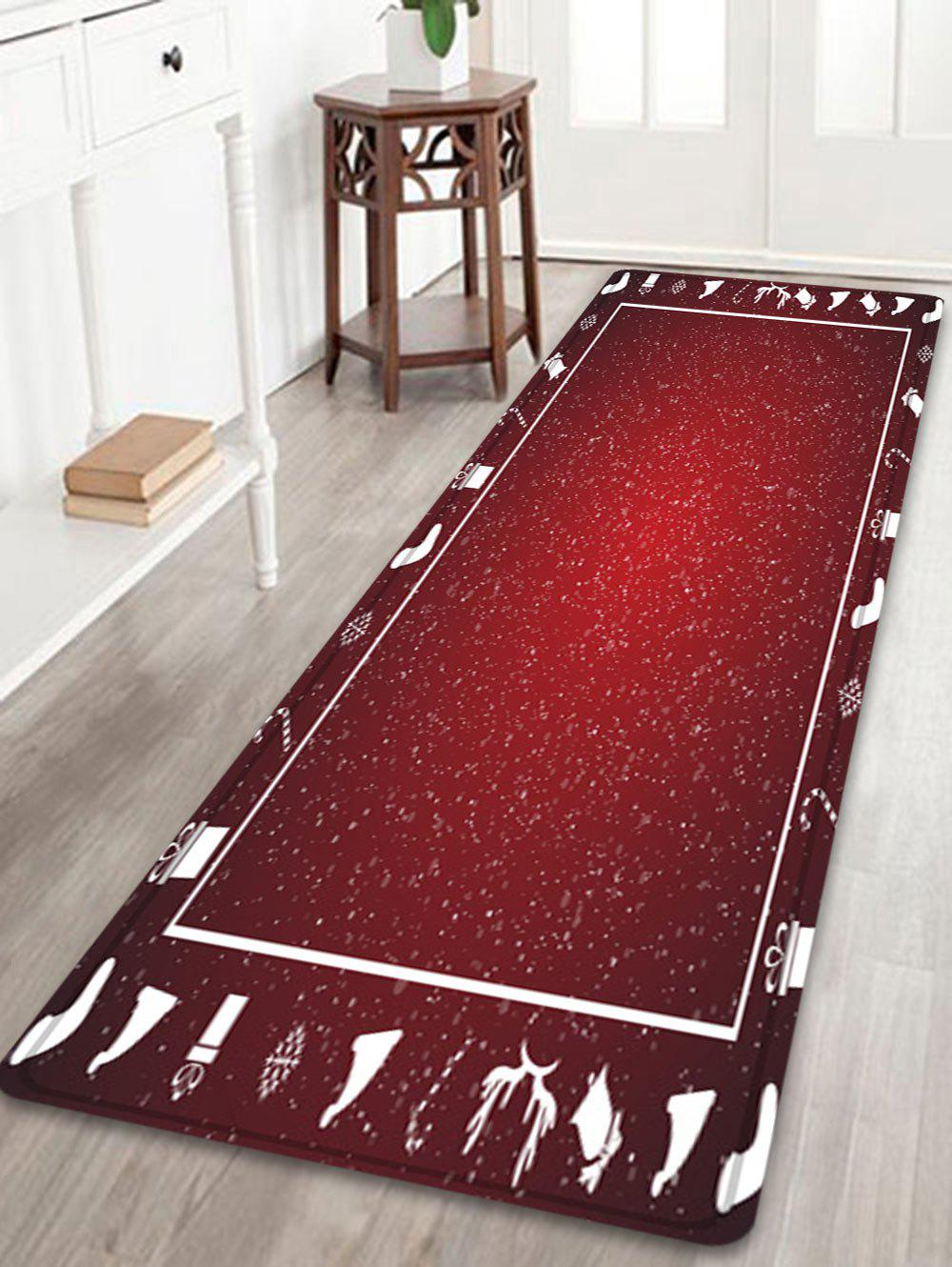 Christmas Theme Pattern Anti-skid Water Absorption Area RugHOME<br><br>Size: W24 INCH * L71 INCH; Color: RED; Products Type: Bath rugs; Materials: Flannel; Style: Festival; Shape: Rectangle; Package Contents: 1 x Rug;