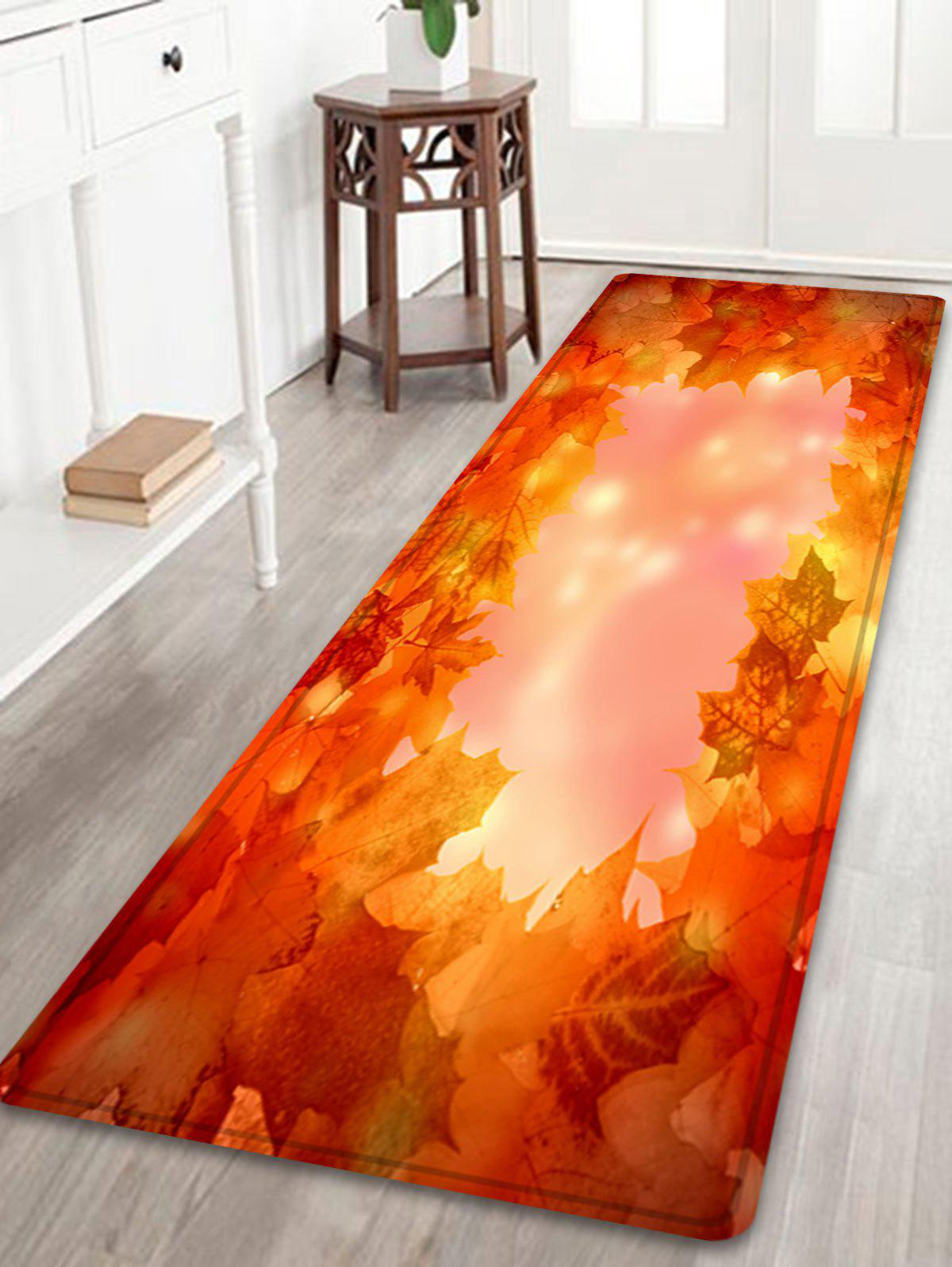 Maple Leaves Pattern Anti-skid Water Absorption Area RugHOME<br><br>Size: W24 INCH * L71 INCH; Color: LIGHT RED; Products Type: Bath rugs; Materials: Flannel; Pattern: Plant; Style: Natural; Shape: Rectangle; Package Contents: 1 x Rug;