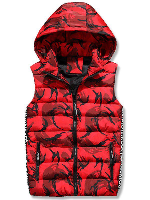 Store Zip Up Hooded Camo Quilted Vest