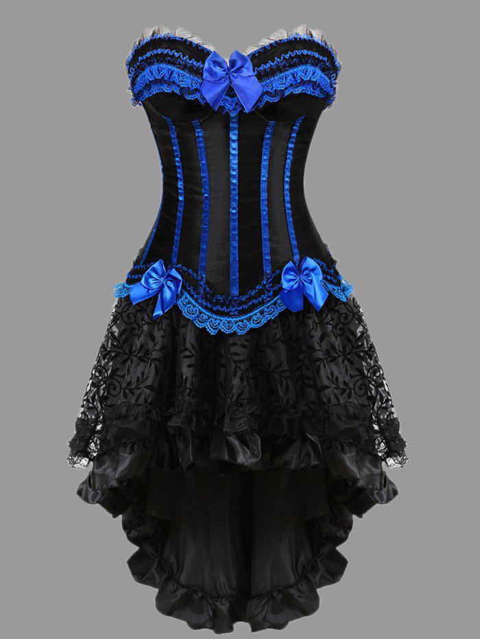 Two Piece Flounce Plus Size Corset DressWOMEN<br><br>Size: 4XL; Color: BLUE; Material: Polyester,Spandex; Pattern Type: Striped; Embellishment: Bowknot,Criss-Cross,Ruffles; Weight: 0.4000kg; Package Contents: 1 x Corset  1 x Skirt  1 x T Back;