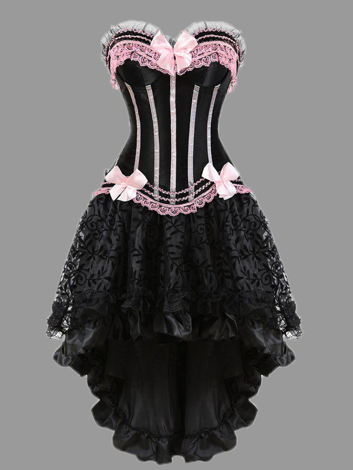 Two Piece Flounce Plus Size Corset DressWOMEN<br><br>Size: 5XL; Color: PINK; Material: Polyester,Spandex; Pattern Type: Striped; Embellishment: Bowknot,Criss-Cross,Ruffles; Weight: 0.4000kg; Package Contents: 1 x Corset  1 x Skirt  1 x T Back;