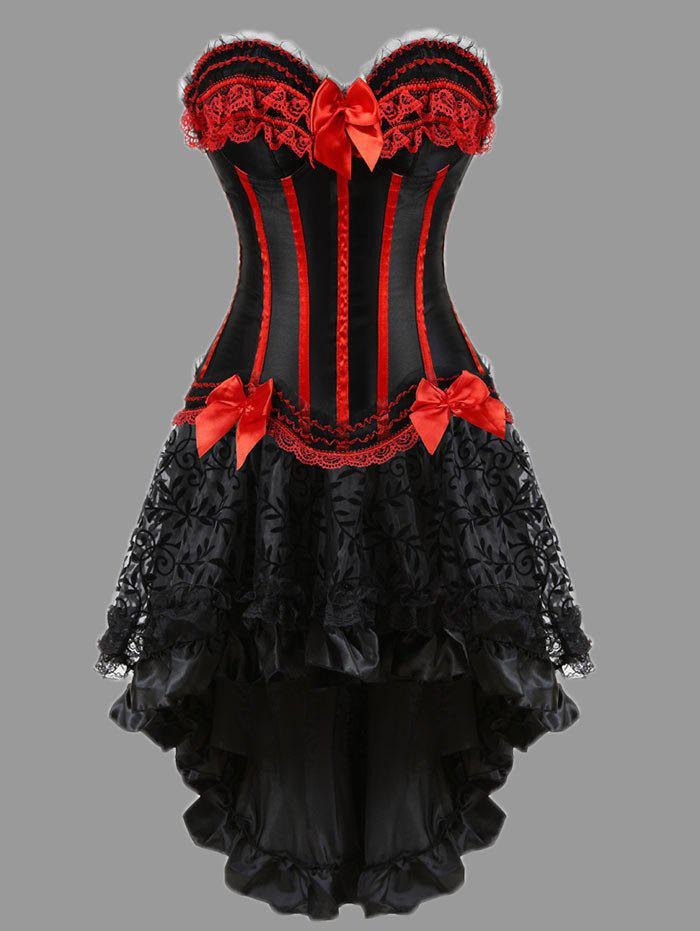 Two Piece Flounce Plus Size Corset DressWOMEN<br><br>Size: 5XL; Color: RED; Material: Polyester,Spandex; Pattern Type: Striped; Embellishment: Bowknot,Criss-Cross,Ruffles; Weight: 0.4000kg; Package Contents: 1 x Corset  1 x Skirt  1 x T Back;