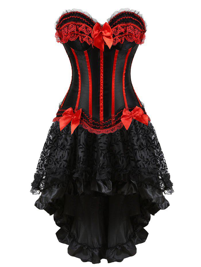 Flounce Two Piece Asymmetric Corset DressWOMEN<br><br>Size: 2XL; Color: RED; Material: Polyester,Spandex; Pattern Type: Striped; Embellishment: Bowknot,Criss-Cross,Ruffles; Weight: 0.4000kg; Package Contents: 1 x Corset  1 x Skirt  1 x T Back;