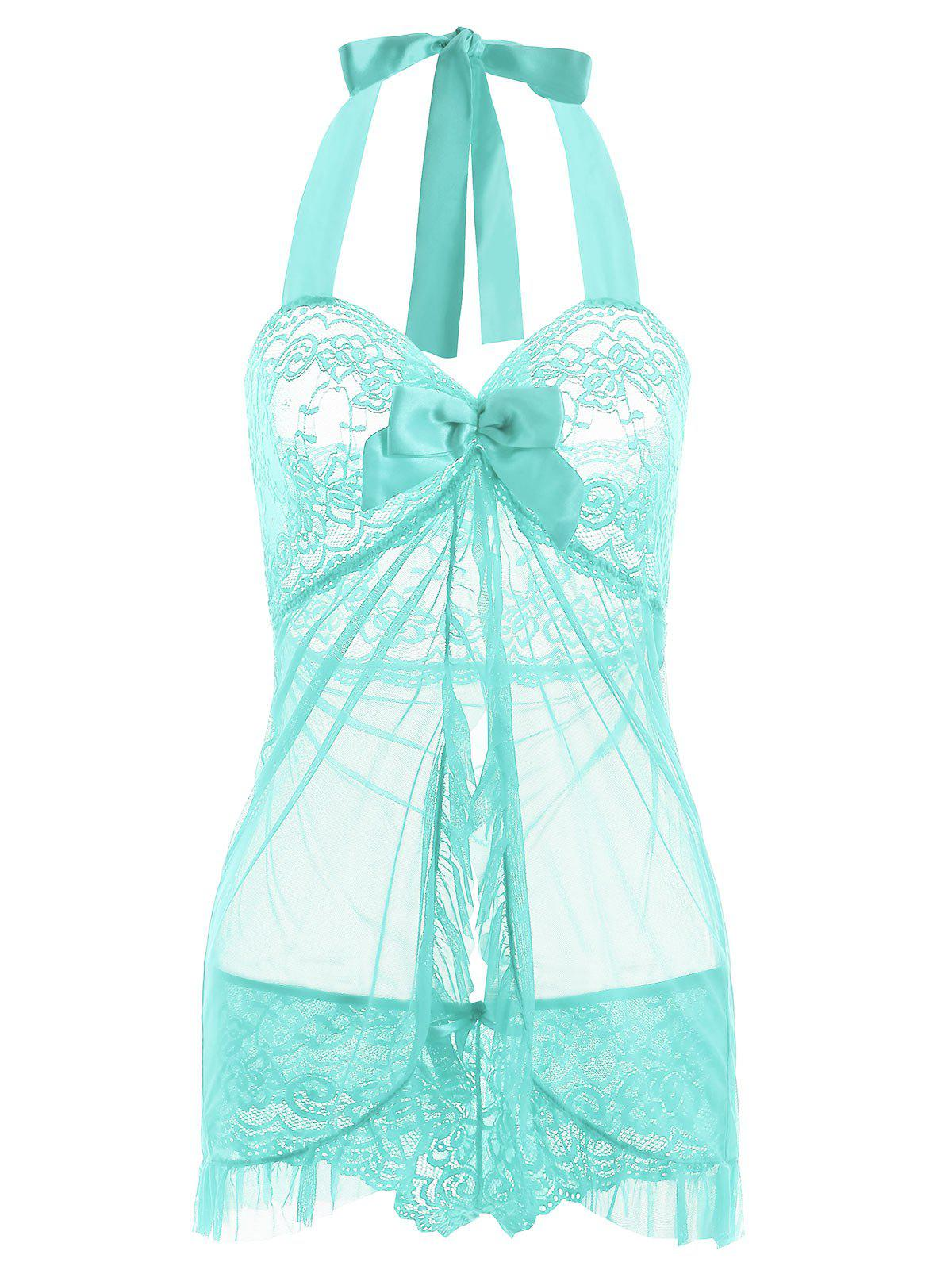 Cheap Halter Mesh Split Ruffled Babydoll