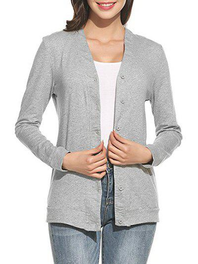 Button Up V Neck Fitted Cardigan